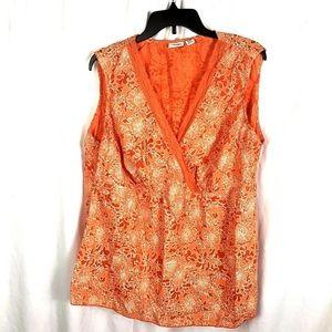Cato Women's Sz 18/20W Top Orange Floral Low Cut